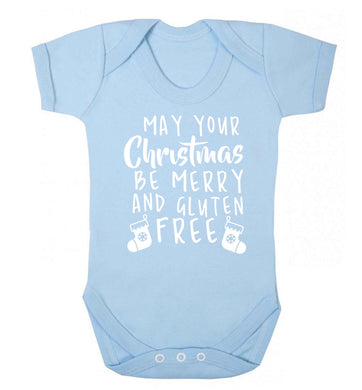 May your Christmas be merry and gluten free Baby Vest pale blue 18-24 months