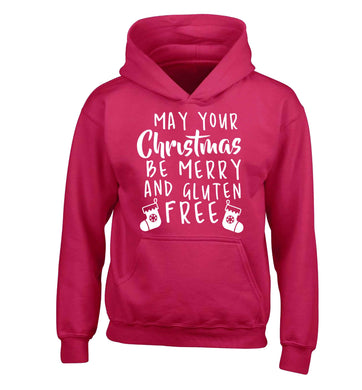 May your Christmas be merry and gluten free children's pink hoodie 12-13 Years