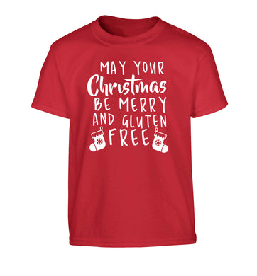 May your Christmas be merry and gluten free Children's red Tshirt 12-13 Years