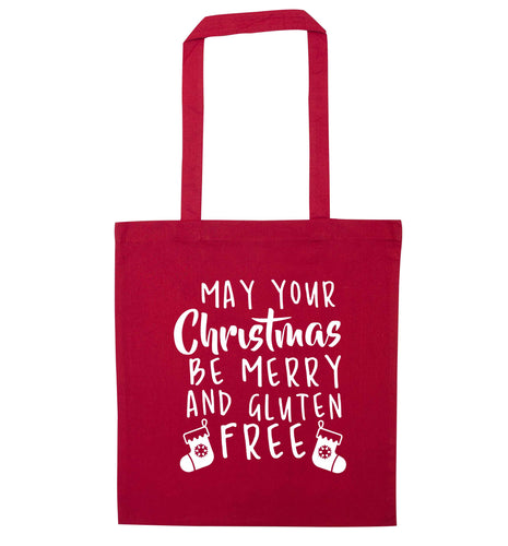 May your Christmas be merry and gluten free red tote bag
