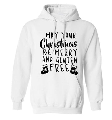 May your Christmas be merry and gluten free adults unisex white hoodie 2XL