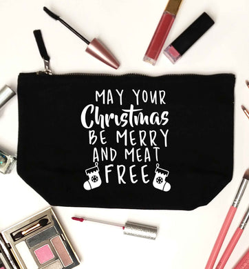 May your Christmas be merry and meat free black makeup bag