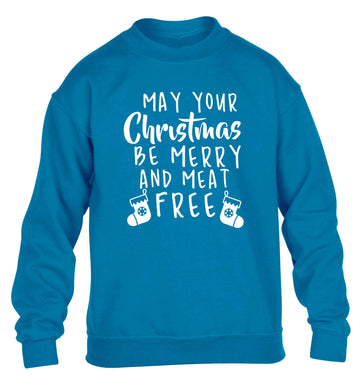 May your Christmas be merry and meat free children's blue sweater 12-13 Years