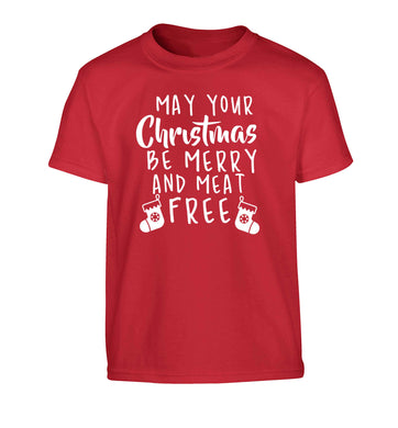 May your Christmas be merry and meat free Children's red Tshirt 12-13 Years