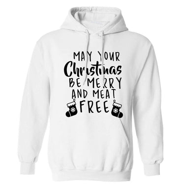 May your Christmas be merry and meat free adults unisex white hoodie 2XL