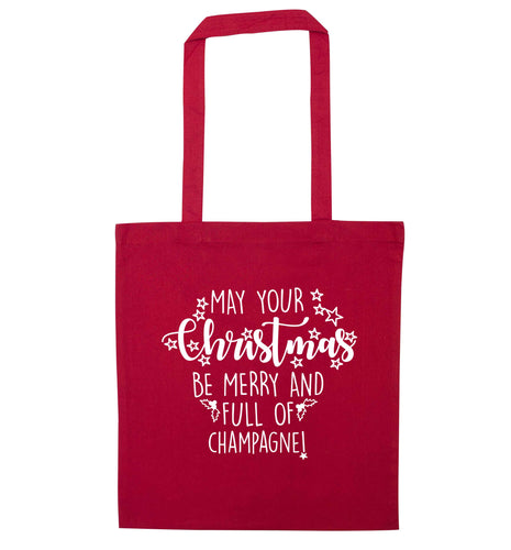 May your Christmas be merry and full of champagne red tote bag