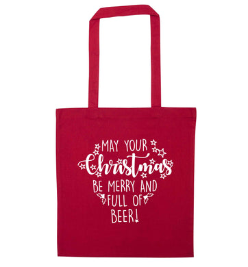 May your Christmas be merry and full of beer red tote bag