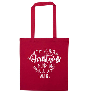 May your Christmas be merry and full of lager red tote bag