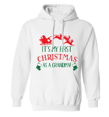 It's my first Christmas as a grandma! adults unisex white hoodie 2XL
