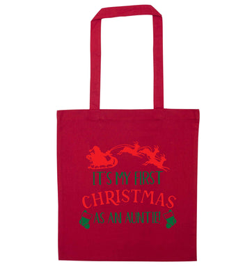 It's my first Christmas as an auntie! red tote bag