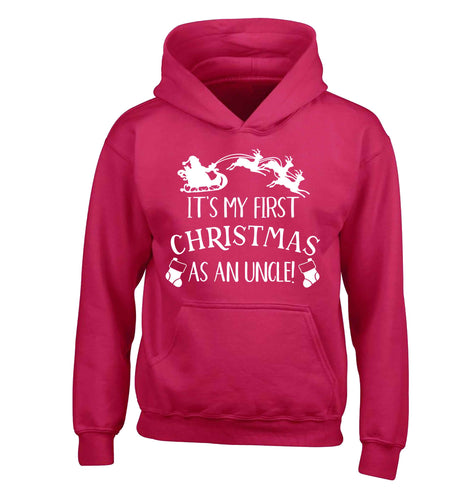 It's my first Christmas as an uncle! children's pink hoodie 12-13 Years