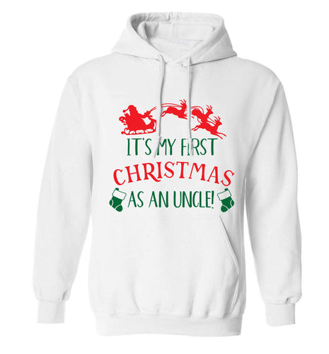 It's my first Christmas as an uncle! adults unisex white hoodie 2XL