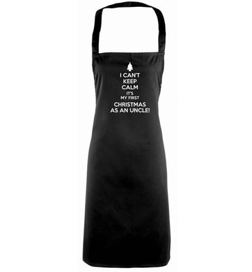 I can't keep calm it's my first Christmas as an uncle! black apron