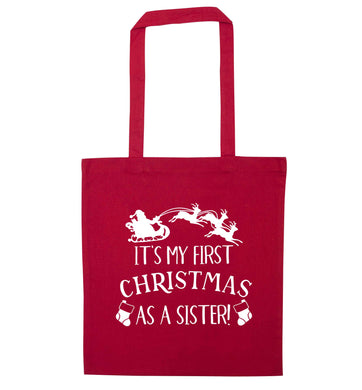 It's my first Christmas as a sister! red tote bag