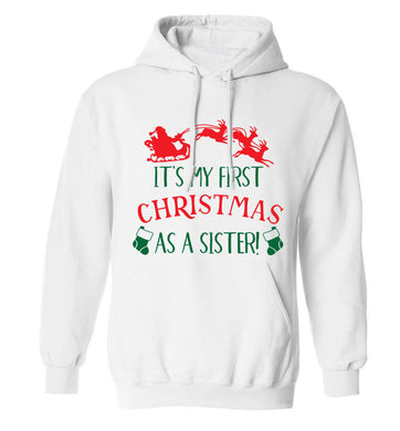 It's my first Christmas as a sister! adults unisex white hoodie 2XL