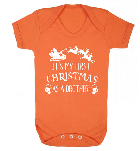 It's my first Christmas as a brother! Baby Vest orange 18-24 months