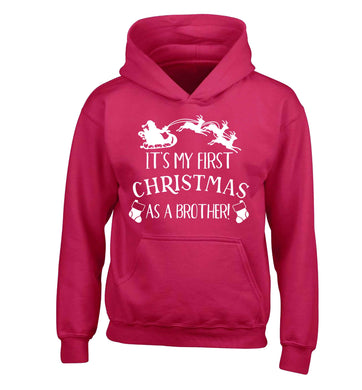 It's my first Christmas as a brother! children's pink hoodie 12-13 Years