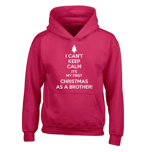 I can't keep calm it's my first Christmas as a brother! children's pink hoodie 12-13 Years