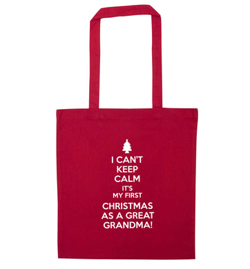 I can't keep calm it's my first Christmas as a great grandma! red tote bag