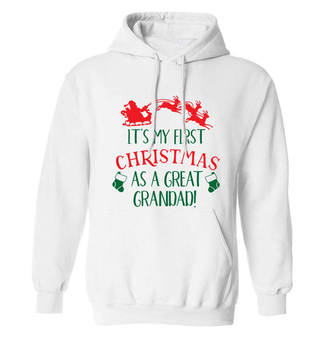 It's my first Christmas as a great grandad! adults unisex white hoodie 2XL