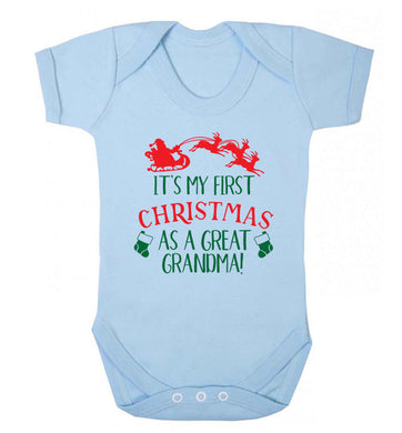 It's my first Christmas as a great grandma! Baby Vest pale blue 18-24 months