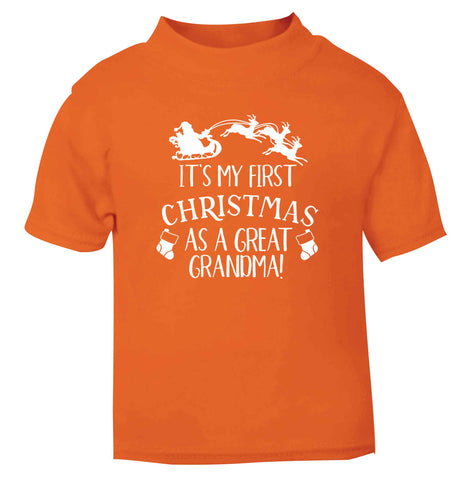 It's my first Christmas as a great grandma! orange Baby Toddler Tshirt 2 Years