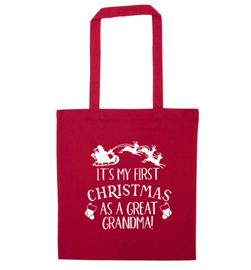 It's my first Christmas as a great grandma! red tote bag