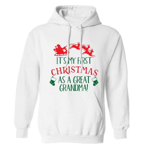 It's my first Christmas as a great grandma! adults unisex white hoodie 2XL
