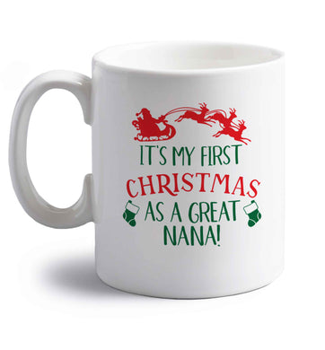 It's my first Christmas as a great nana! right handed white ceramic mug