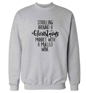 Strolling around a Christmas market with mulled wine Adult's unisex grey Sweater 2XL
