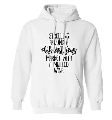 Strolling around a Christmas market with mulled wine adults unisex white hoodie 2XL