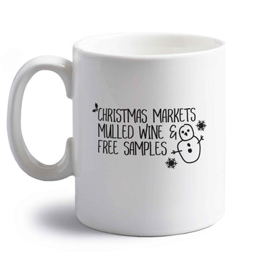 Christmas market mulled wine & free samples right handed white ceramic mug