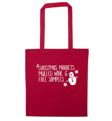 Christmas market mulled wine & free samples red tote bag