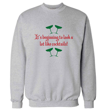 It's beginning to look a lot like cocktails Adult's unisex grey Sweater 2XL