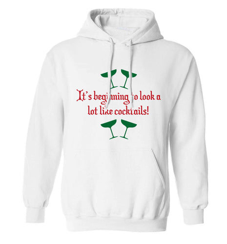 It's beginning to look a lot like cocktails adults unisex white hoodie 2XL