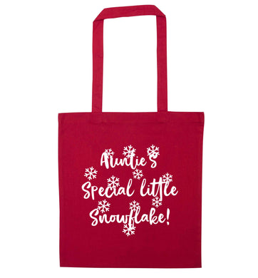 Auntie's special little snowflake red tote bag