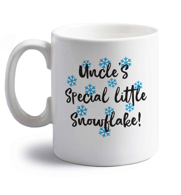 Uncle's special little snowflake right handed white ceramic mug