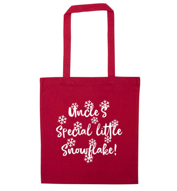 Uncle's special little snowflake red tote bag