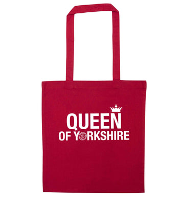 Queen of Yorkshire red tote bag