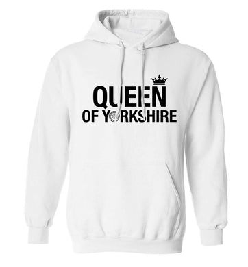 Queen of Yorkshire adults unisex white hoodie 2XL