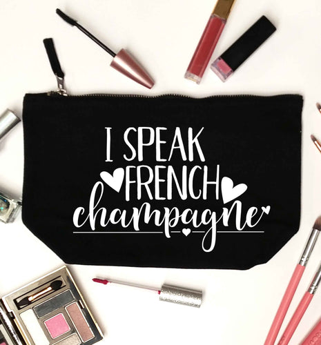 I speak french champagne black makeup bag