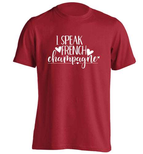 I speak french champagne adults unisex red Tshirt 2XL