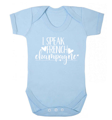 I speak french champagne Baby Vest pale blue 18-24 months