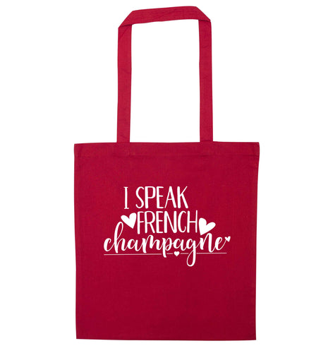 I speak french champagne red tote bag