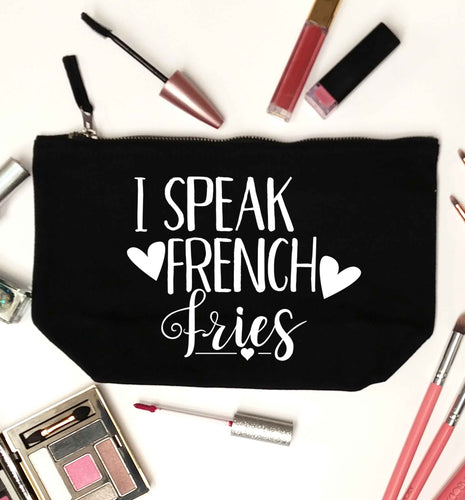 I speak French fries black makeup bag