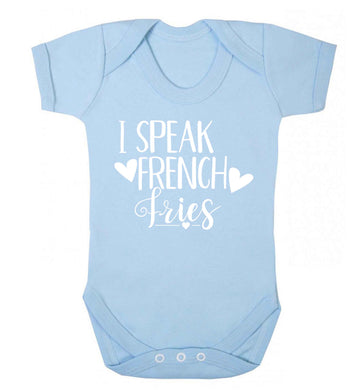 I speak French fries Baby Vest pale blue 18-24 months