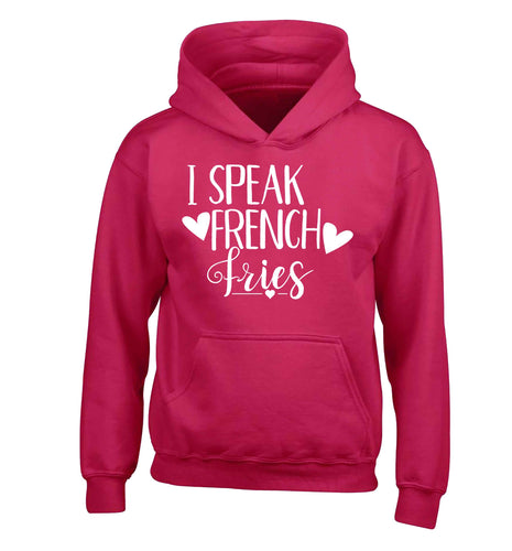I speak French fries children's pink hoodie 12-13 Years