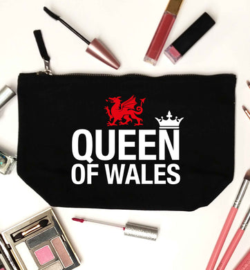 Queen of Wales black makeup bag