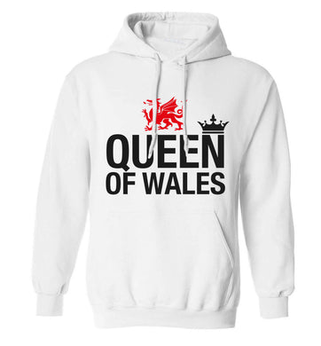 Queen of Wales adults unisex white hoodie 2XL