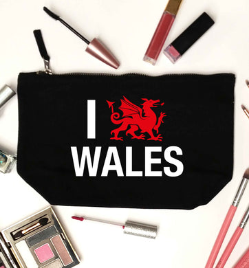 I love Wales black makeup bag